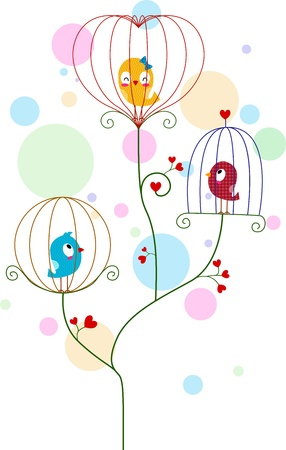 lovebirds: Illustration of Lovebirds in Cute Cages