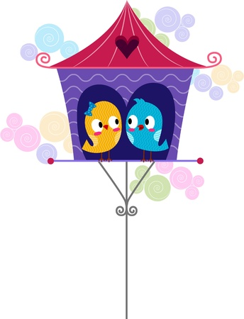 lovebirds: Illustration of Lovebirds in a Cage Stock Photo