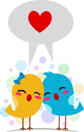 Illustratie van dwergpapegaaien met behulp van de taal van liefde