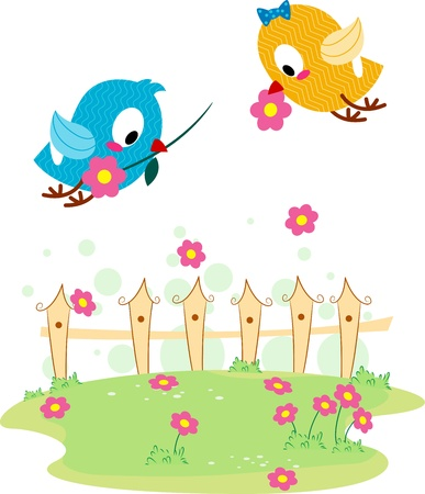 lovebirds: Illustration of a Lovebird Giving Another Lovebird a Flower