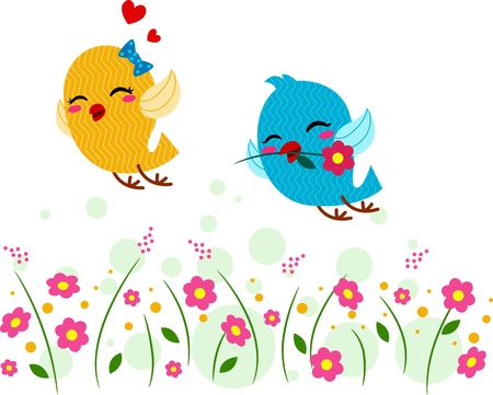 courtship: Illustration of Lovebirds Playing in a Garden Stock Photo