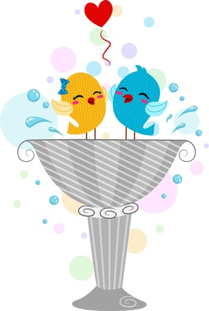 Illustration of Lovebirds Playing in a Bird Bath illustration