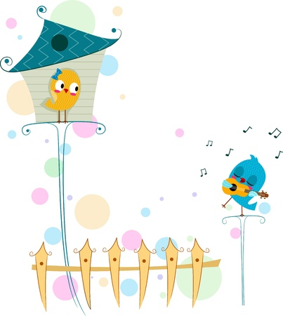birdhouse: Illustration of a Lovebird Serenading Another Lovebird