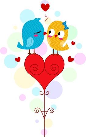 Illustration of a Lovebird Kissing Another Lovebird