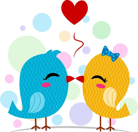 love bird: Illustration of a Pair of Lovebirds Kissing