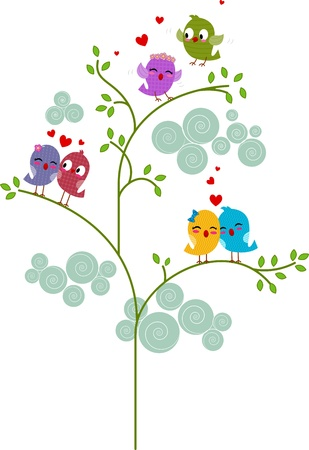 to cuddle: Illustration of Pairs of Lovebirds Perched on a Tree