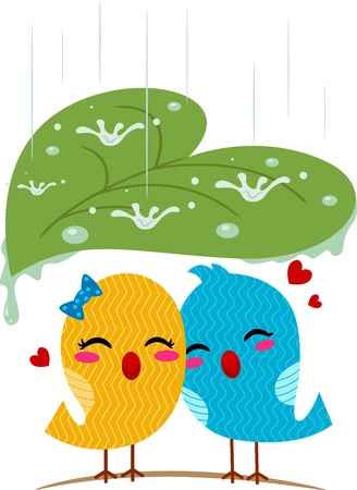love birds: Illustration of Lovebirds Sheltering from the Rain Stock Photo