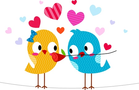 courtship: Illustration of a Lovebird Giving Another Lovebird a Flower