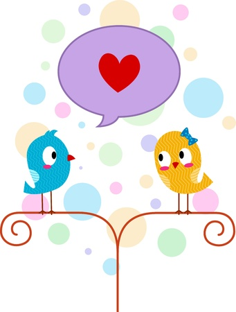 lovebirds: Illustration of a Lovebird Professing His Love