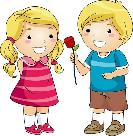 Illustration of a Boy Giving a Long Stemmed Rose to a Girl illustration