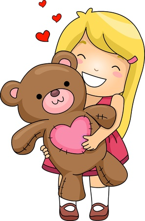 Illustration of a Girl Hugging a Stuffed Toy