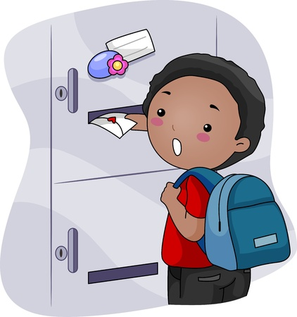 admiration: Illustration of a Boy Inserting a Love Letter To His Crush Locker