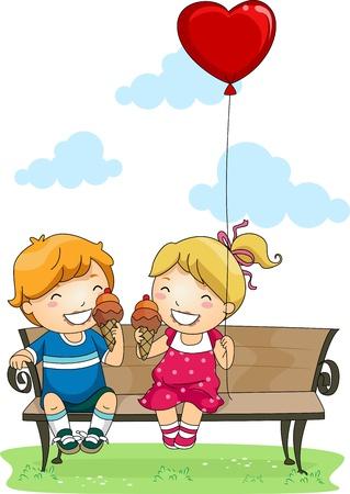 pareja comiendo: Ilustración de los niños a comer helado en un parque