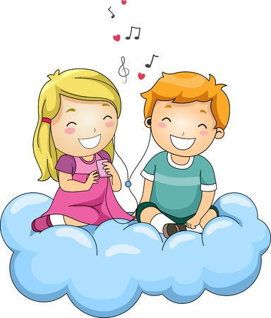romantic: Illustration of Kids Listening to Music Through Shared Headphones