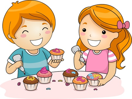 child couple: Illustration of Kids Decorating the Top of Cupcakes