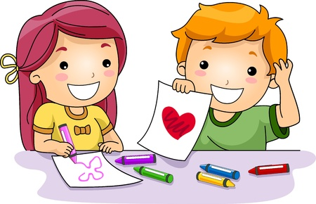 Illustration of Kids Drawing Valentine-related Things illustration