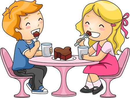 snack cartoon: Illustration of Kids Sharing a Chocolate Cake