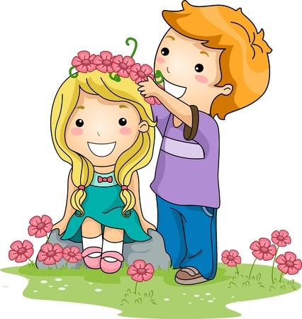courtship: Illustration of a Boy Placing a Crown of Flowers on a Girls Head Stock Photo