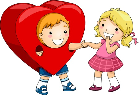 courting: Illustration of a Boy Wearing a Heart Costume Stock Photo