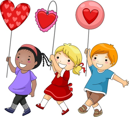 parade: Illustration of Kids Participating in a Valentine Parade