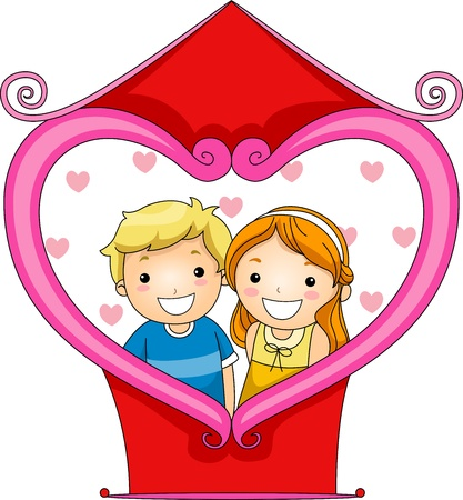love picture: Illustration of a Boy and Girl Getting Their Picture Taken in a Photo Booth