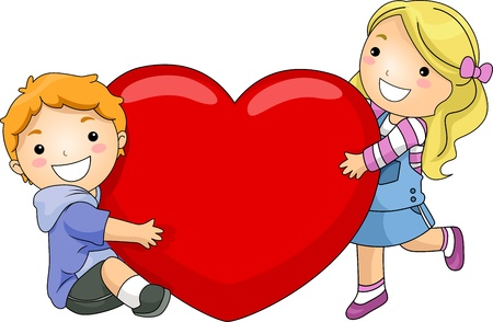 Illustration of a Boy and Girl Hugging a Giant Heart