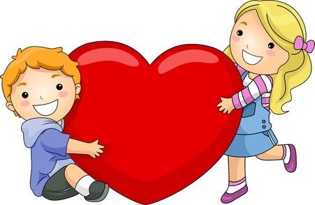 personas abrazadas: Ilustraci�n de un ni�o y la ni�a abrazando un coraz�n gigante