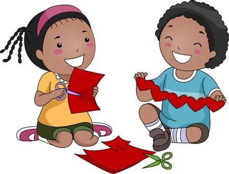 playmates: Ilustración de los niños, haciendo el corazones de papel Foto de archivo