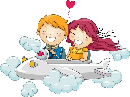 cloud clipart: Illustration of Kids Going on a Joyride in a Mini Plane Stock Photo