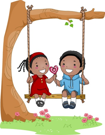 puppy love: Illustration of a Boy and Girl Sitting Side by Side on a Swing