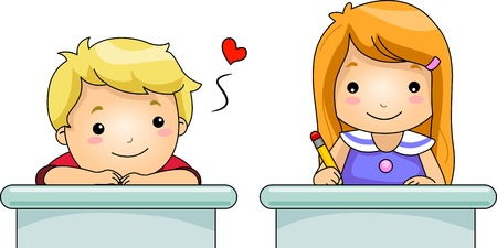 classmate: Illustration of a Boy Stealing Glances from His Female Classmate Stock Photo