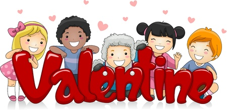 Illustration of Kids of Different Races Posing with a Large Valentine Sign illustration