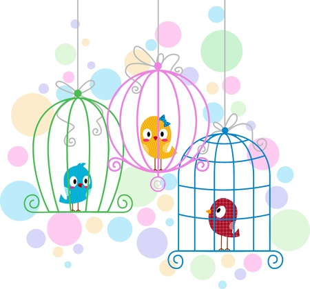 mating: Illustration of Love Birds in Cute Cages