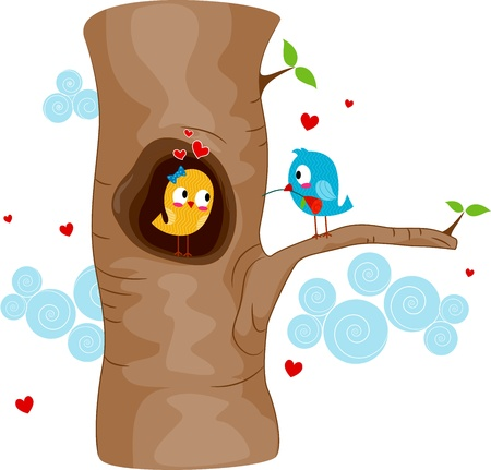 Illustration of a Lovebird Courting Another Lovebird in a Tree illustration
