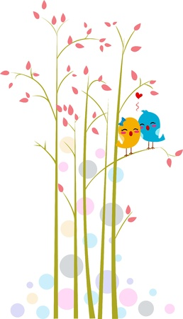 lovebirds: Illustration of Lovebirds on a Tree