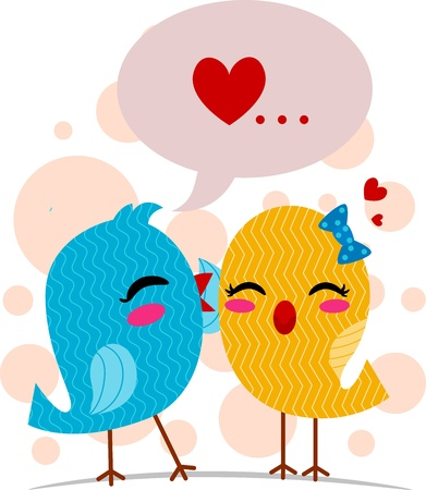 whispering: Illustration of a Lovebird Whispering Sweet Nothings