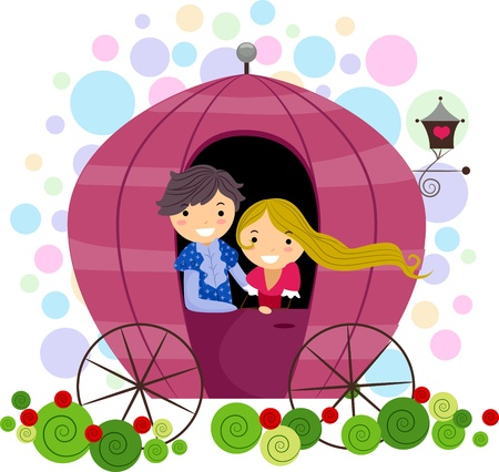 lover: Illustration of a Stick Figure Couple in a Carriage