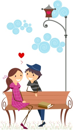 Illustration of a Stick Figure Couple on a Date Stock Illustration - 8635553