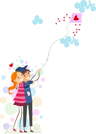 Illustration of a Stick Figure Couple Flying a Kite Together Stock Illustration - 8635522