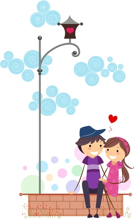 Illustration of a Stick Figure Couple on a Date Stock Illustration - 8635544