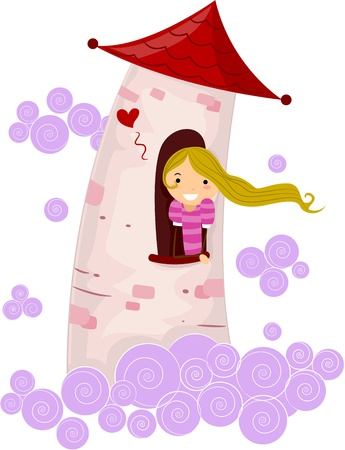 damsel: Illustration of a Stick Figure Princess Stuck in a Tower Stock Photo