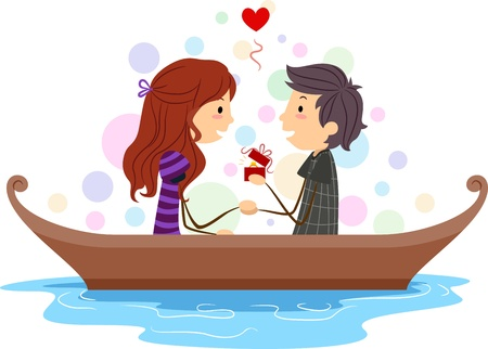 romance couple: Illustration of a Stick Figure Guy Proposing to His Girl
