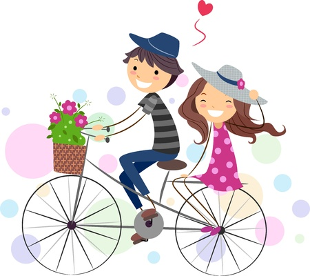 couple dating: Illustration of a Stick Figure Couple on a Bike