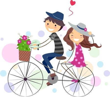bicycle cartoon: Illustration of a Stick Figure Couple on a Bike