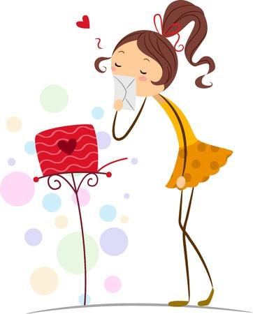 mujer enamorada: Ilustración de una chica de Stick figura el envío de una carta de amor a su enamorado
