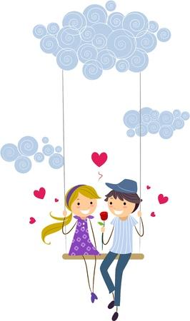 love couple cartoon: Illustration of a Stick Figure Couple on a Swing Stock Photo