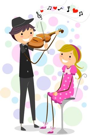 serenata: Ilustraci�n de un tipo de figura de palo, d�ndole una serenata a una chica