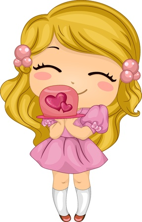 Illustration of a Girl Presenting a Valentine-themed Cake illustration