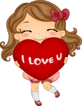 love confession: Illustration of a Girl Carrying a Heart-shaped Pillow Stock Photo