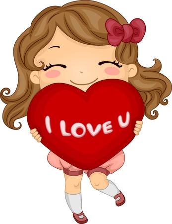 Illustrazione di una ragazza che trasportano un cuscino a forma di cuore